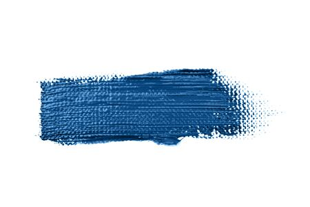 Blue stroke of the paint brush on canvas