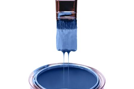 close up of paint container and brush on white background with clipping path. Classic blue color of year 2020. Imagens