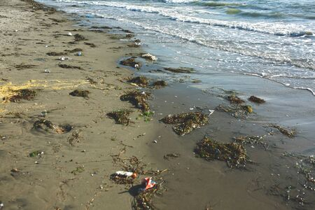 Garbage on tropical beach. Old tire and construction debris on seashore sand. Tropical island environment pollution. Trash thrown by seaside. Tropical beach tourism industry impact. Ecological problem