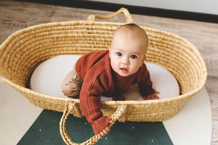 Adorable six month old baby girl in a basket on the floor and looking into the camera 스톡 콘텐츠