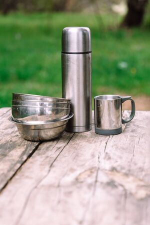 time for adventures - set of expedition camping equipment 스톡 콘텐츠