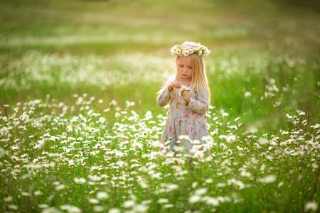 Little beautiful girl runs on the street or in the park laughing, across the field. sunset light, childhood. Emotional portrait of a happy and kind girl with wavy hair looking with a smile while sitting in a field of daisies in the sunset rays during summer vacation. Imagens
