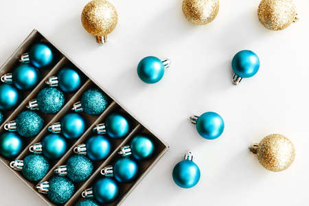 New Year 2021 blue balloons. Stylish set of shiny christmas balls. Holiday concepts. Flat lay, top view