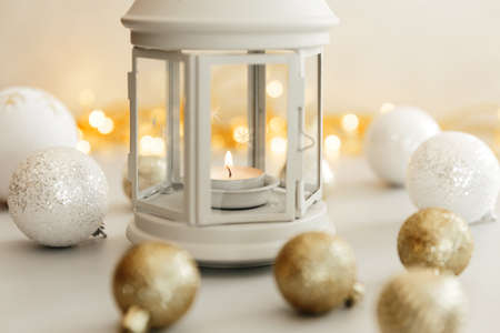 Christmas Scene. Holiday Greeting Card Design. Candle Background. New Year 2021 concept on white background