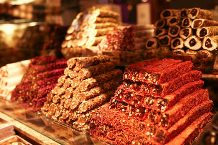Traditional Turkish delight On Counter In Istanbul Grand Bazaar