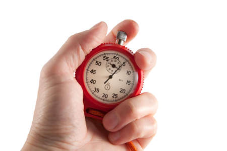 Red stopwatch in hand.