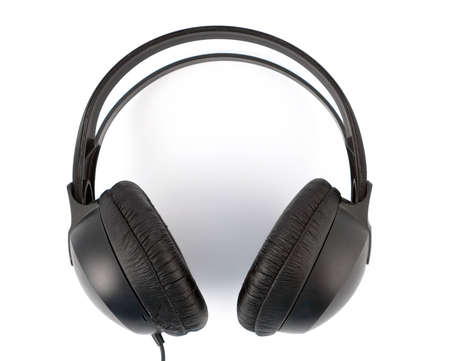 Set Of Modern Black Headphones, close-up over white
