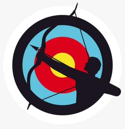 arco y flecha: La imagen de destino con una silueta de un arquero superpuesta en él