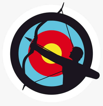Target image with a silhouette of an archer superimposed on it Vector