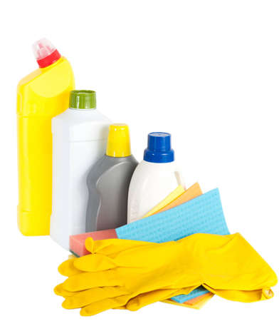 unlabelled: Various cleaning products and yellow rubber gloves
