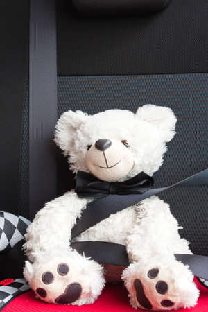 Plush white childs toy teddy bear taking a ride in a car and wearing a seatbelt photo