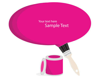 Opened can of magenta paint with a brush painting a large blank text bubble with copyspace Stock Photo