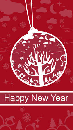 subtle background: Cheerful red Happy New Year greeting card with a decorative hanging bauble on a subtle background pattern and a banner with the greeting text Stock Photo