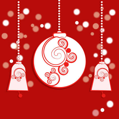 An illustration of a garland of red and white Christmas themed paper decorations of baubles and bells illustration