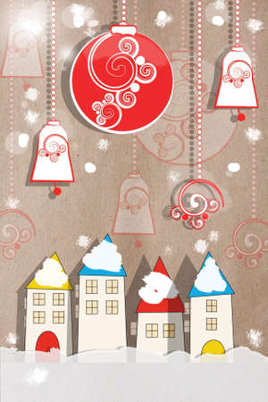 Colourful applique New Year greeting card with decorative paper houses and hanging decorations in a snow covered winter scene on a neutral background for your festive greeting