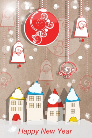 Colourful applique New Year greeting card with decorative paper houses and hanging decorations in a snow covered winter scene on a neutral background for your festive greeting photo
