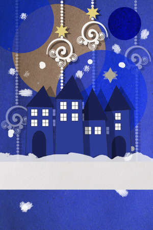 Beautiful wintry village square Christmas greeting card at twilight photo