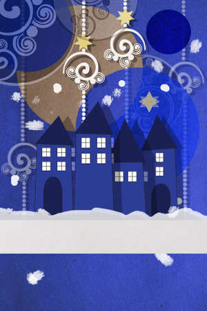 seasonal greeting: Beautiful paper applique seasonal greeting card in blue and gold with a wintery