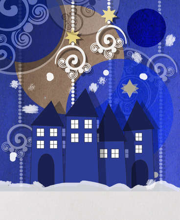 wintery: Beautiful wintery village square Christmas greeting card at twilight
