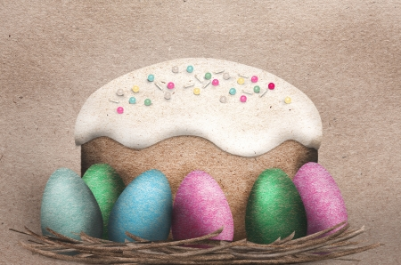 Beautiful paper applique design of colorful Easter Eggs in a nest with an iced Easter cake topped with multicolored sprinkles in textured paper