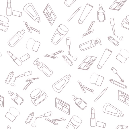 Seamless background pattern of hand drawn outlines of cosmetics, skincare products and beauty aids randomly scattered on a white background