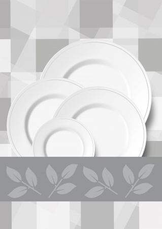 Collage of a fresh checkered background in shades of grey with various sized white dinner plates and a decorative ribbon with leaves Stock Photo - 18537878