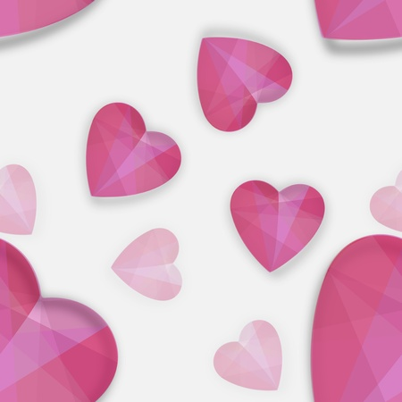 Decorative pattern with pink shiny glamorous heart shapes, on white background
