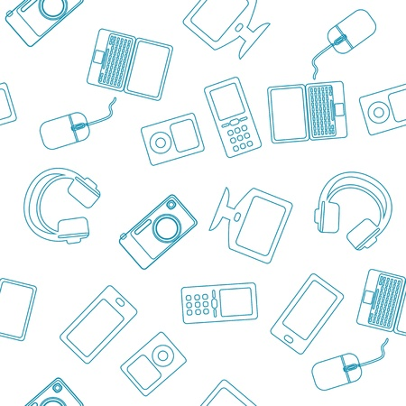 Seamless background pattern of multimedia electronic devices including a laptop and mouse, smartphone, music player, mobile phone, monitor or TV and headphones for connected entertainment and leisure
