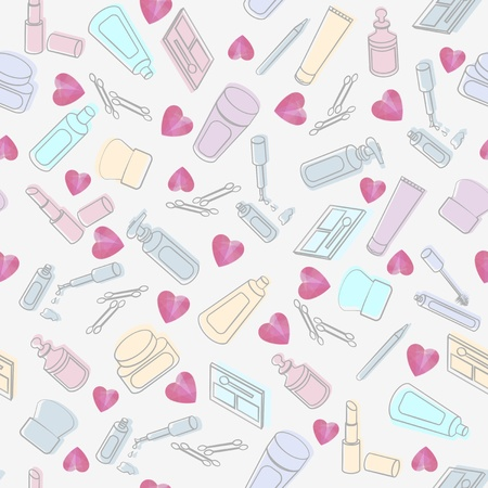 interspersed: Seamless background pattern of randomly arranged cosmetics and beauty products interspersed with pink hearts on a white background