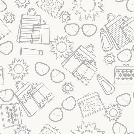 sun protection: Accesorios de verano bosquejo de fondo con l�neas dibujadas a mano de sol, gafas de sol, bolsos de compras, bolso y productos de cuidado de la piel para protegerse del sol durante unas vacaciones de verano tropical