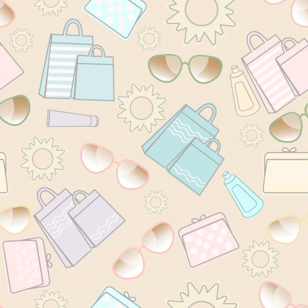 Summer vacation seamless background design with the sun, sunglasses, sunscreen, pretty handbags and shopping bags in fresh pastel colours scattered on a white background Vector