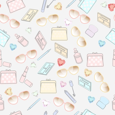 Seamless fresh pastel pattern of cosmetics, beauty products, sunglasses and bags interspersed with hearts scattered on a white background