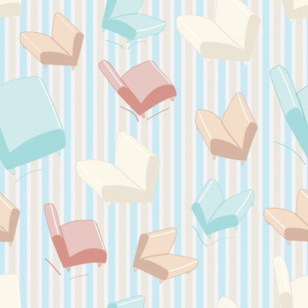 Seamless sofa and chair background pattern with stylised modular furnishing in pretty pastel colours on a striped background Vector