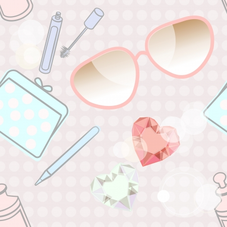Seamless background pattern of fashion accessories and cosmetics including sunglasses, a purse, mascara, eyeliner pencil and nail varnish with a faceted heart shape near the centre Stock Vector - 18644353