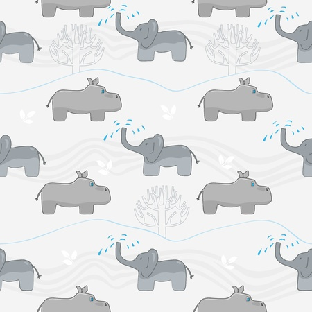 Seamless background pattern of alternating rows of cute cartoon elephants and hippos as grey silhouettes on a muted stylised landscape Vector
