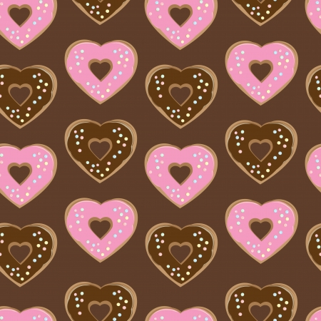 alternating: Assorted heart shaped doughnuts glazed with chocolate and pink icing topped with colourful sprinkles arranged in a seamless background pattern of repeat rows with alternating colours