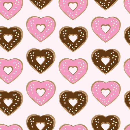 застекленный: Ассорти в форме сердца, пончики глазированные шоколадной глазурью и розовый увенчанной красочные набрасывает, расположенных в бесшовного фонового повторных строк с чередованием цвета