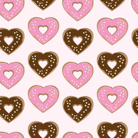 topped: Assorted heart shaped doughnuts glazed with chocolate and pink icing topped with colourful sprinkles arranged in a seamless background pattern of repeat rows with alternating colours