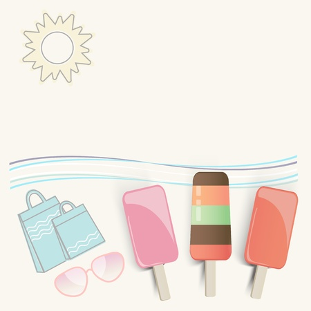 undulating: Summer ice cream lollies at the seaside with sunglasses, shopping bags, undulating waves and a hot sun on a tropical vacation with copyspace for your text Illustration
