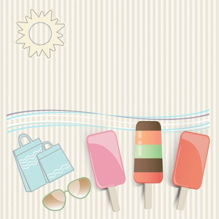 Summer ice cream lollies at the seaside with sunglasses, shopping bags, undulating waves and a hot sun on a tropical vacation with copyspace for your text Vector