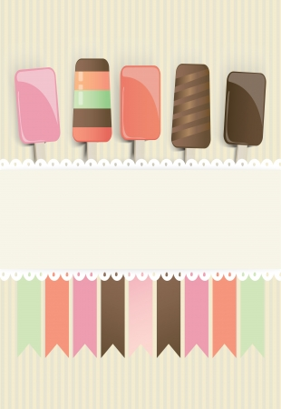 fruity: Colourful illustration of frozen ice cream lollies in chocolate and fruity flavours above a blank white ribbon or banner for your text