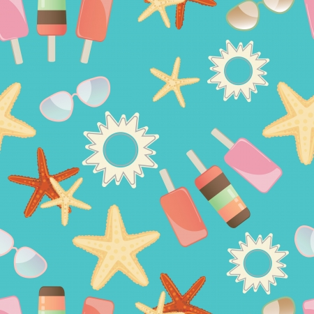 Summer background seamless pattern with starfish, icecream lollies, sun and sunglasses randomly scattered on a turquoise blue background Illustration