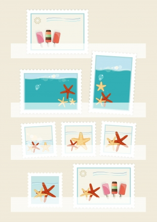 philatelic: Summer postage stamps collection displayed in philatelic pockets with colourful designs of icecream lollies and starfish, vector illustration