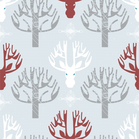Image of deer and trees print in light blue color