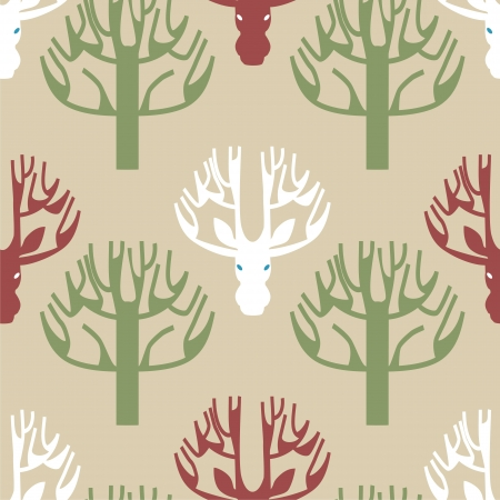 Image of a print of deer and trees in pale brown color