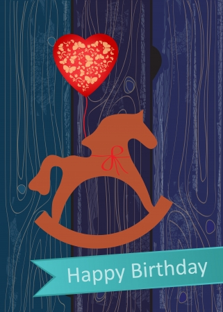 schommelpaard: Verjaardag Wenskaart met een stuk speelgoed houten hobbelpaard en rode hartvormige ballon op een decoratieve blauwe houten achtergrond met een turquoise banner of lint met daarop de woorden, Gelukkige Verjaardag Stock Illustratie
