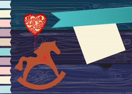 schommelpaard: Decoratieve houten speelgoed hobbelpaard met een rode hartvormige partij ballon op een blauwe woodgrain achtergrond met een blanco lint en wenskaart of uitnodiging