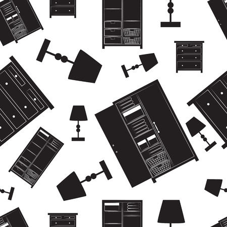 Seamless background pattern illustration of home furniture for inetrior decor including wardrobes, cupboards, lamps and a chest of drawers in black silhouetted shapes scattered on a white background Illustration