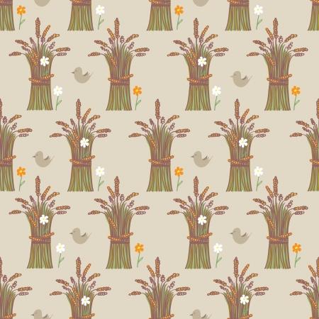 sheaf: Dise�o de fondo transparente de las gavillas de trigo cosechadas maduras dispuestos en filas en un patr�n de repetici�n con una flor blanca en cada fajo alternativo