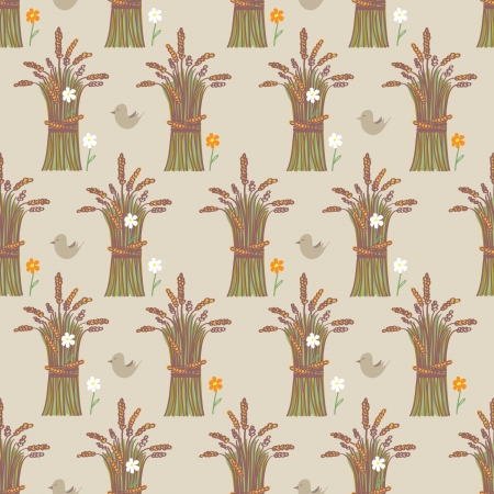 alternate: Seamless background pattern of sheaves of ripe harvested wheat arranged in rows in a repeat pattern with a white blossom on every alternate sheaf